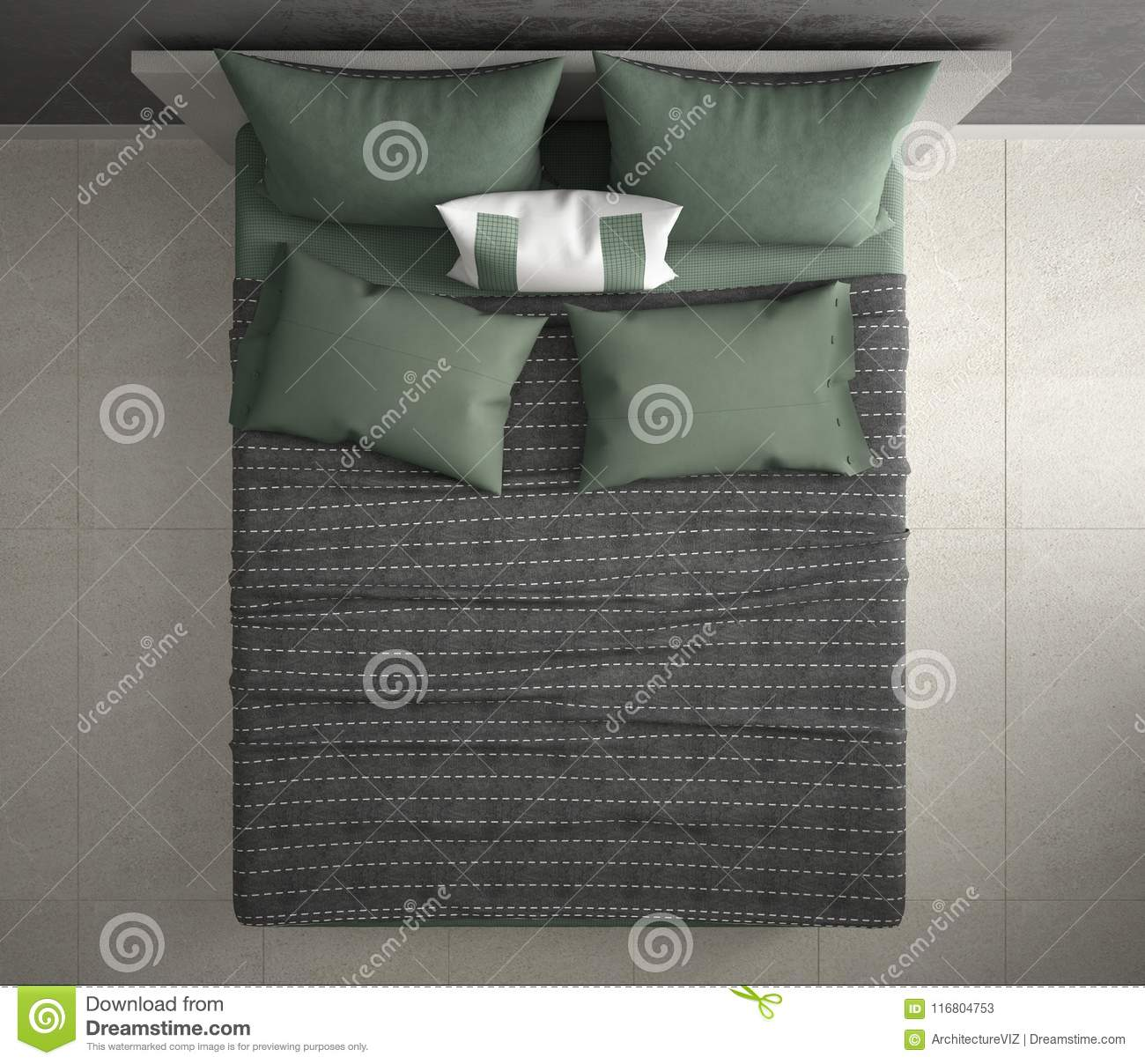 Modern Bedroom Top View Closeup On Double Gray And Green Bed Marble Floor Contemporary Interior Stock Illustration Illustration Of Interior Double 116804753