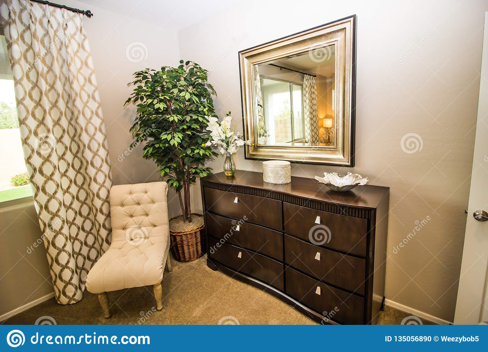 Chest Of Drawers And Mirror In Bedroom Stock Photo Image Of Decor Modern 135056890