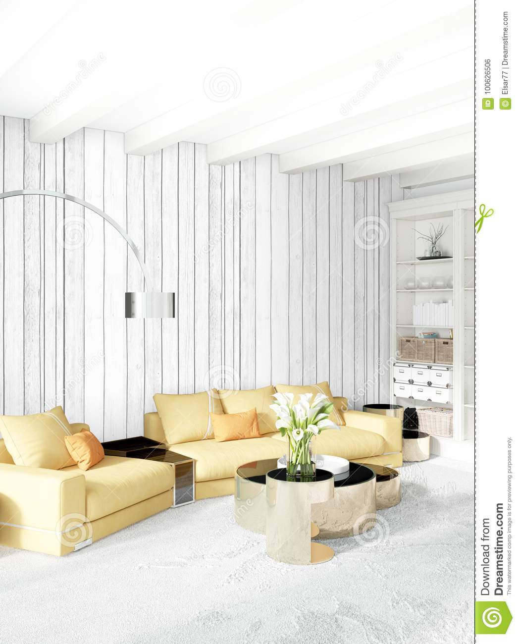 Modern bedroom yellow sofa luxury minimal style interior loft design with eclectic wall 3d rendering