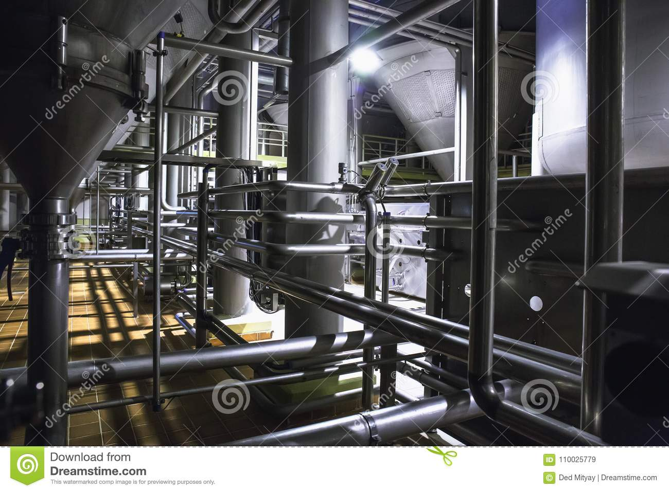 Modern Beer Factory, Brewery Concept. Steel Tanks For Beer Production.  Industrial Background