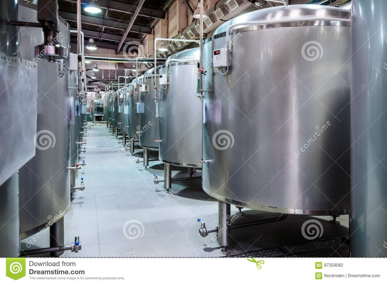 Gut Download Modern Beer Factory. Small Steel Tanks For Fermentation Of Beer.  Stock Photo