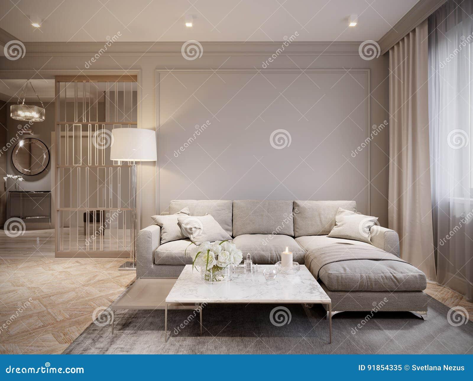 Modern Beige Gray Living Room Interior Design Stock