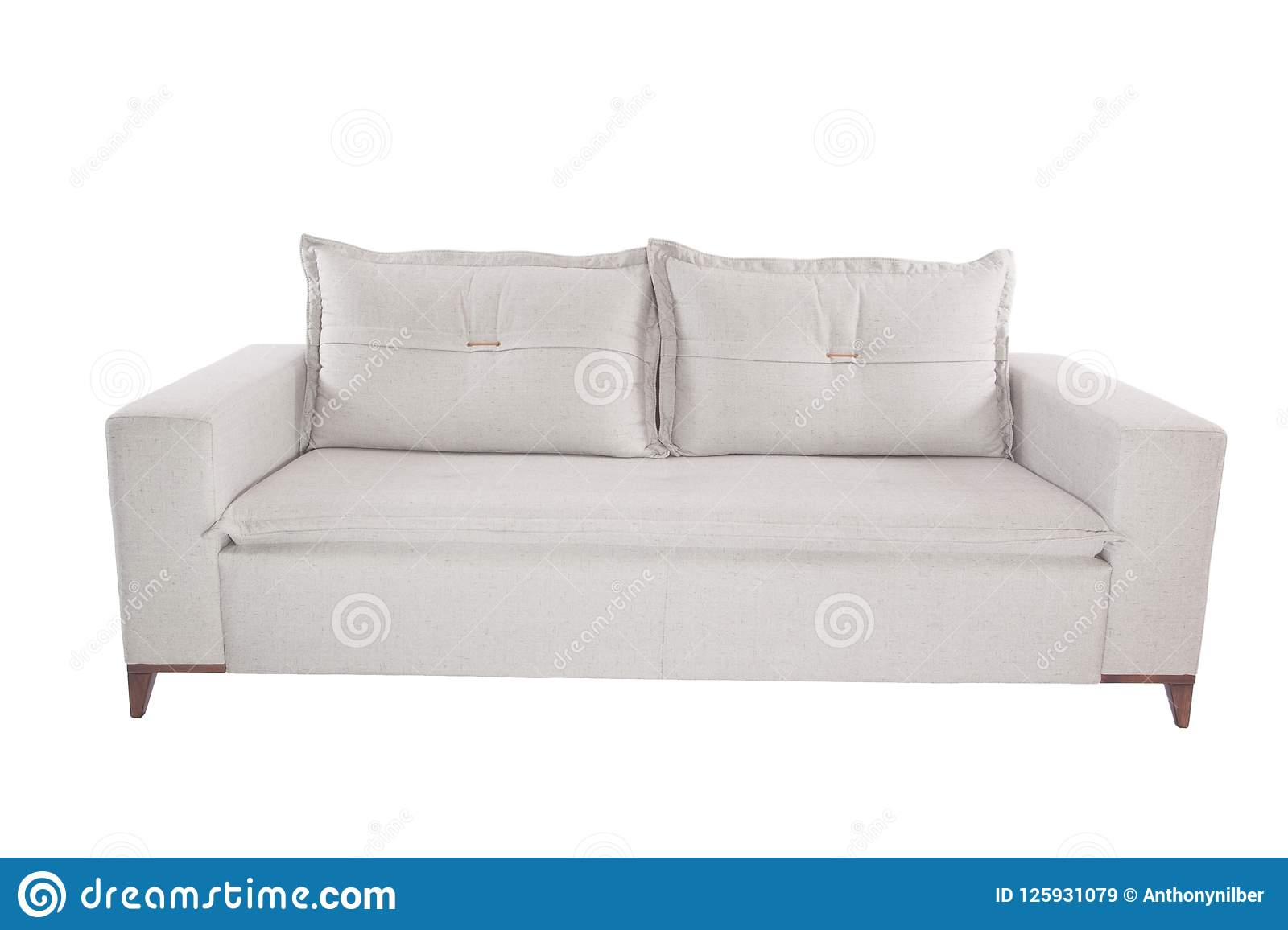 modern beige suede couch sofa isolated