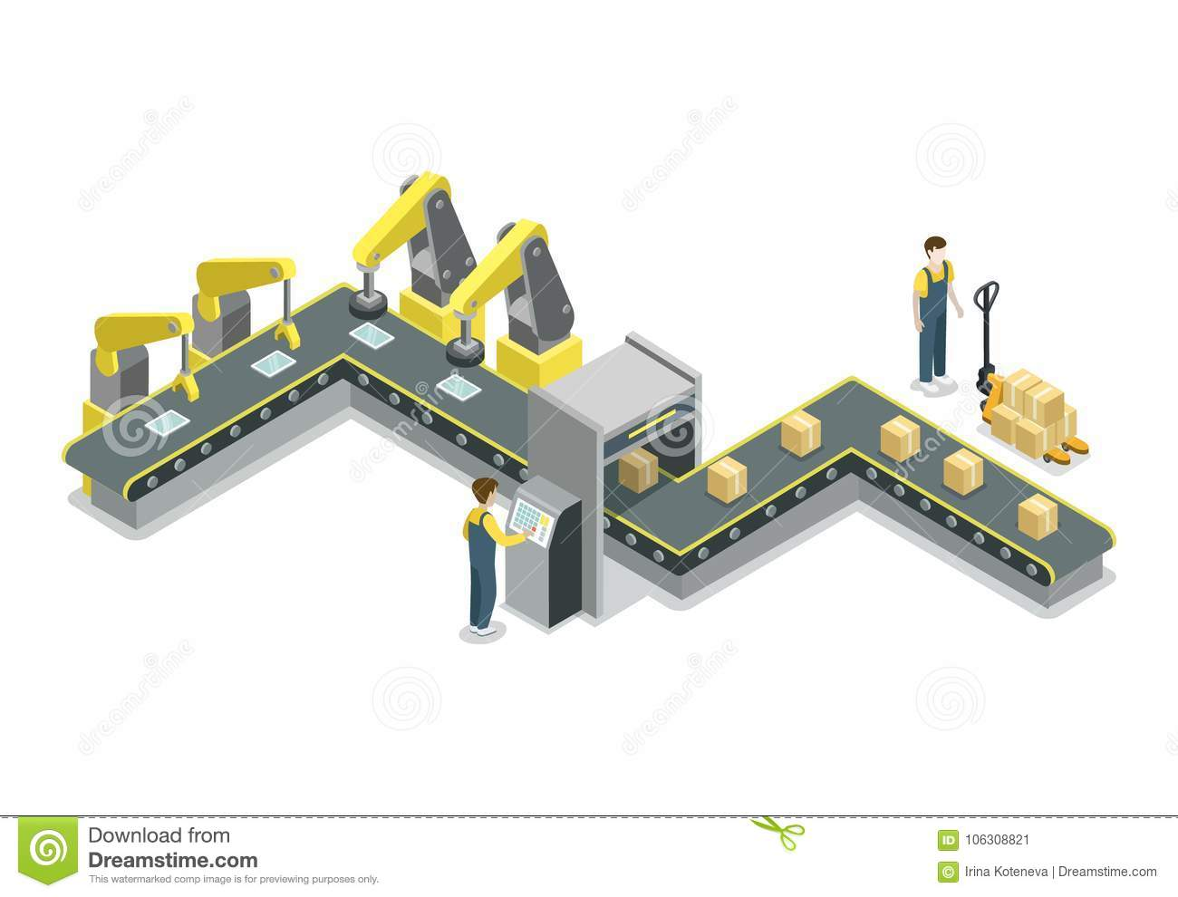 Assembly Icon: Modern Belt Production Line Isometric 3D Icon Stock Vector