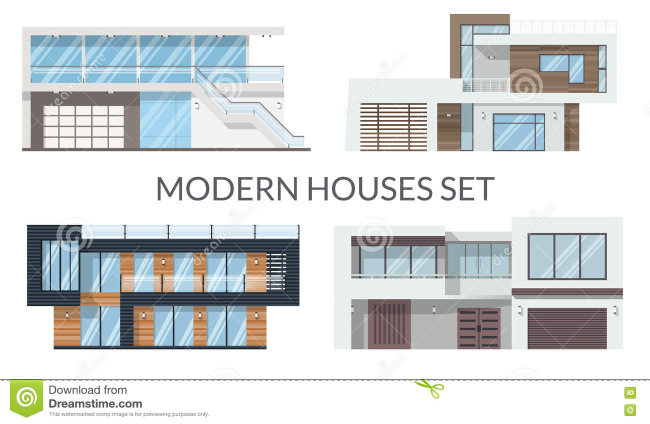 Modern big houses set, real estate signs in flat style. Vector illustration