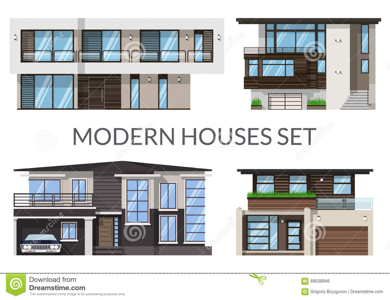 Modern big houses set real estate signs in flat style vector illustration
