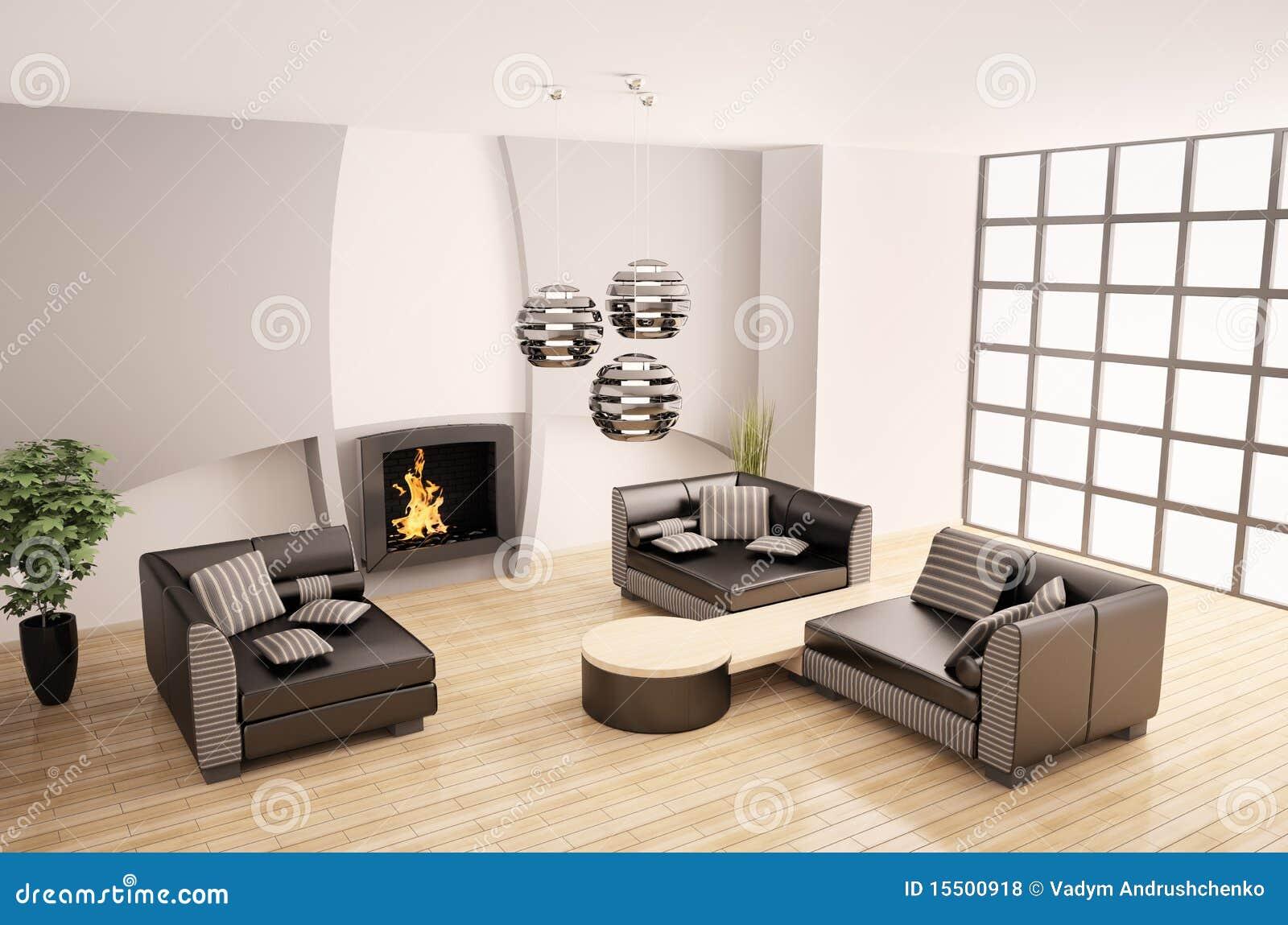 Modern binnenland met 3d open haard stock illustratie afbeelding 15500918 - Deco moderne open haard ...
