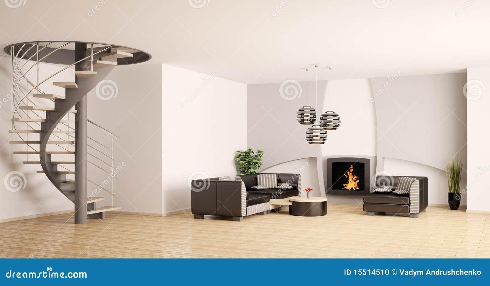 Modern binnenland met 3d open haard stock foto afbeelding 15514510 - Open haard moderne ...