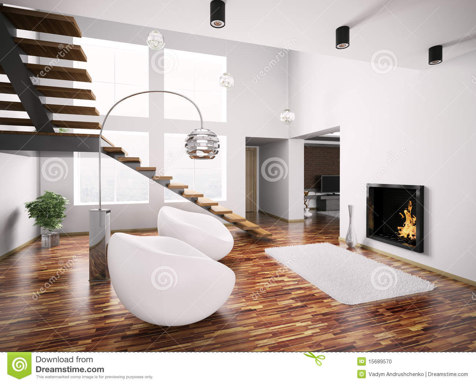 Modern binnenland met 3d open haard en trap stock foto ...