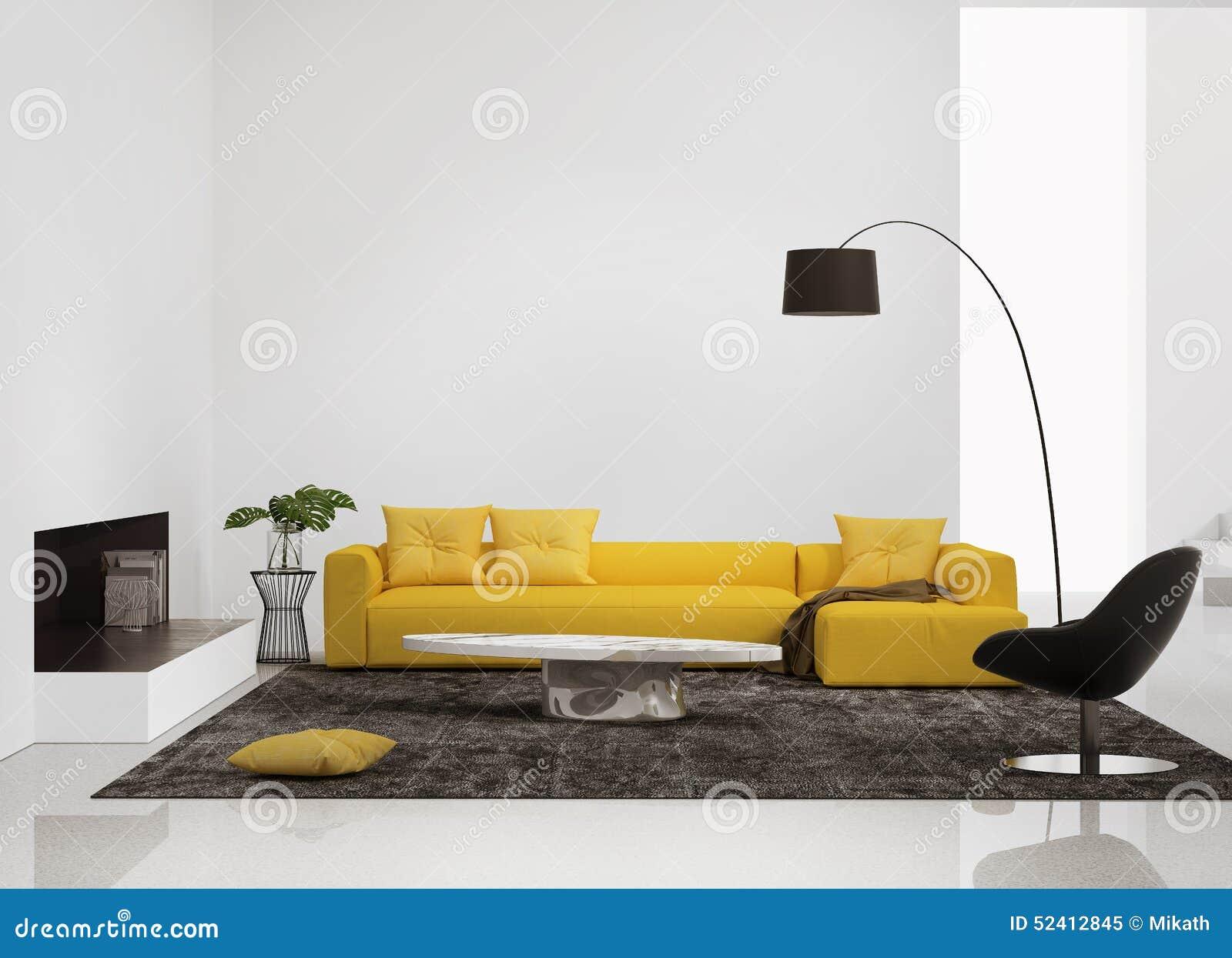 Modern binnenland met een gele bank in de woonkamer stock illustratie afbeelding 52412845 - Eigentijdse woonkamer deco ...