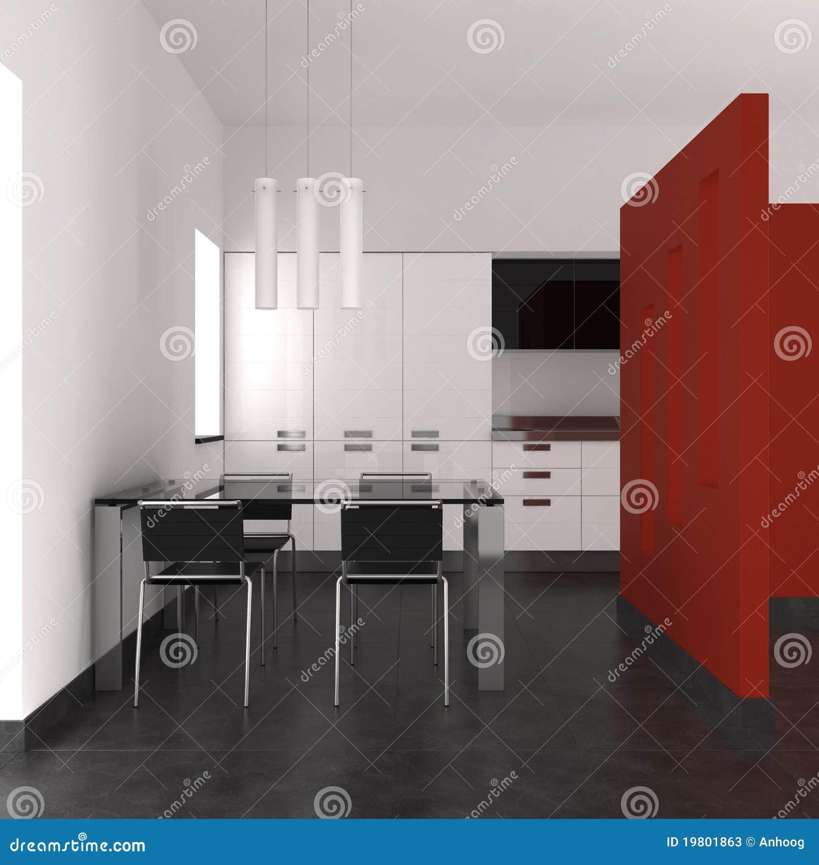 Modern binnenland met keuken en eetkamer stock foto 39 s afbeelding 19801863 - Keuken rode en grijze muur ...