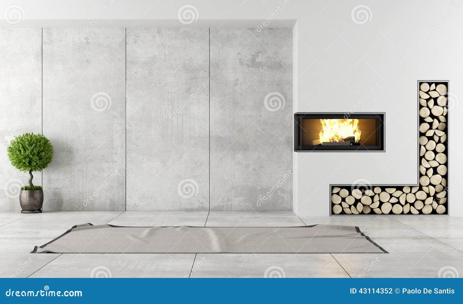 Modern binnenland met open haard stock illustratie afbeelding 43114352 - Moderne open haard ...