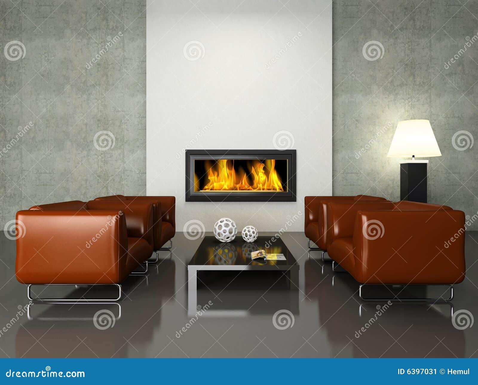 Modern binnenland met open haard stock illustratie illustratie