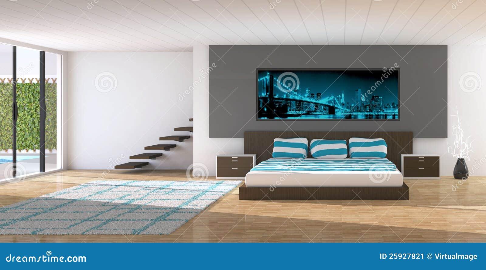 Modern binnenland van een slaapkamer stock afbeelding   afbeelding ...