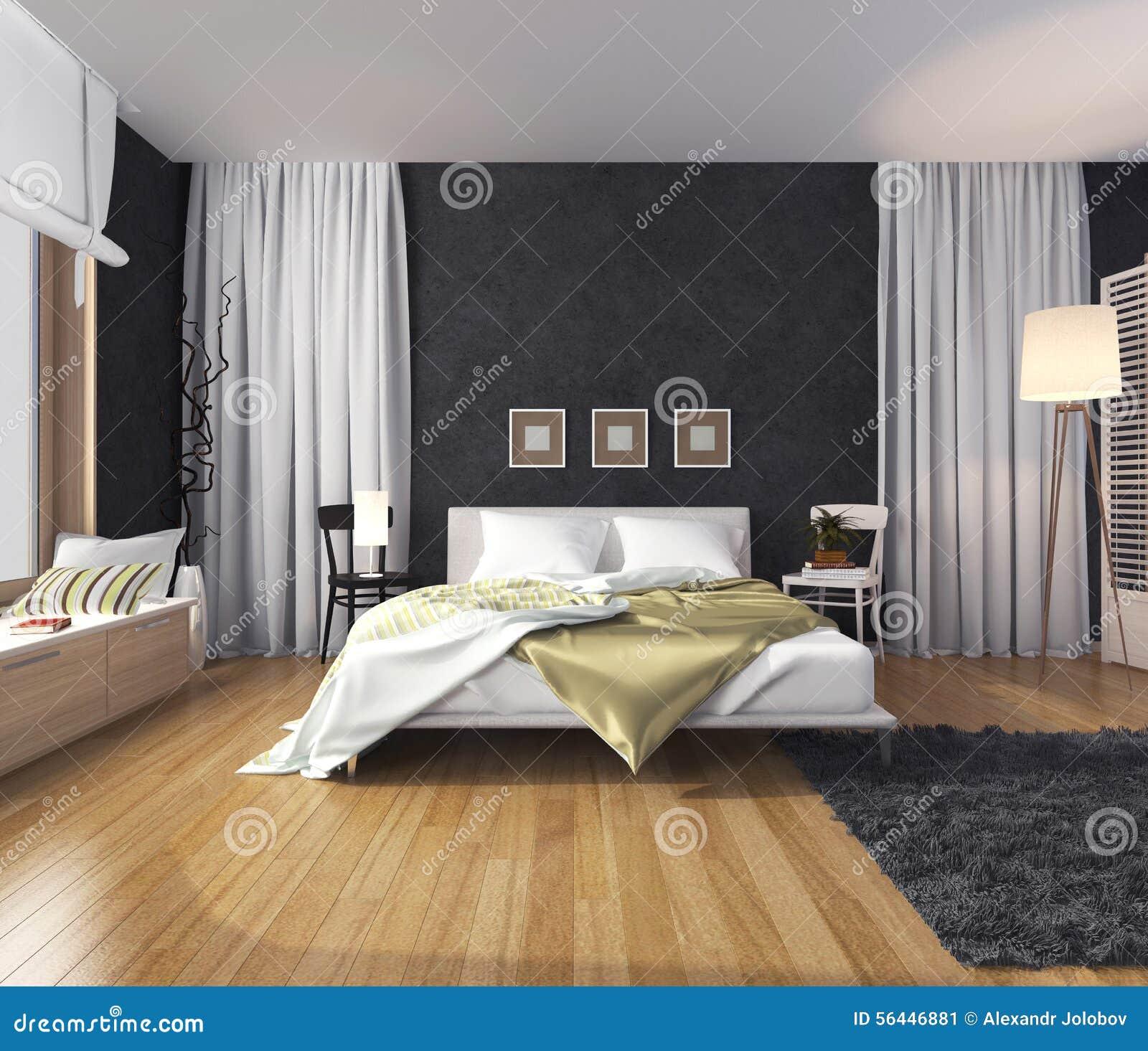 Modern binnenland van een slaapkamer met een muur van donkere ...