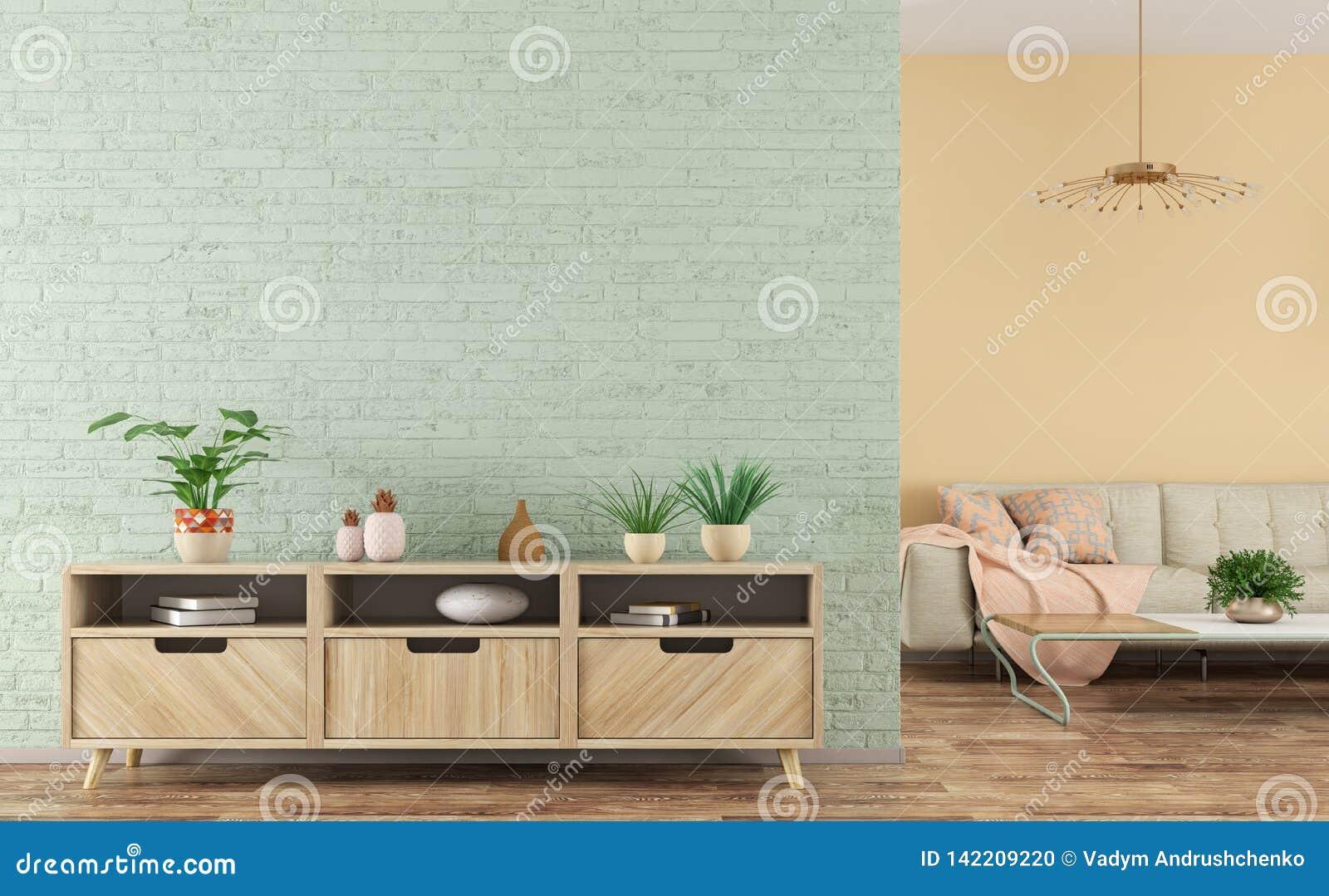 Modern binnenland van woonkamer met het houten buffet en bank 3d teruggeven