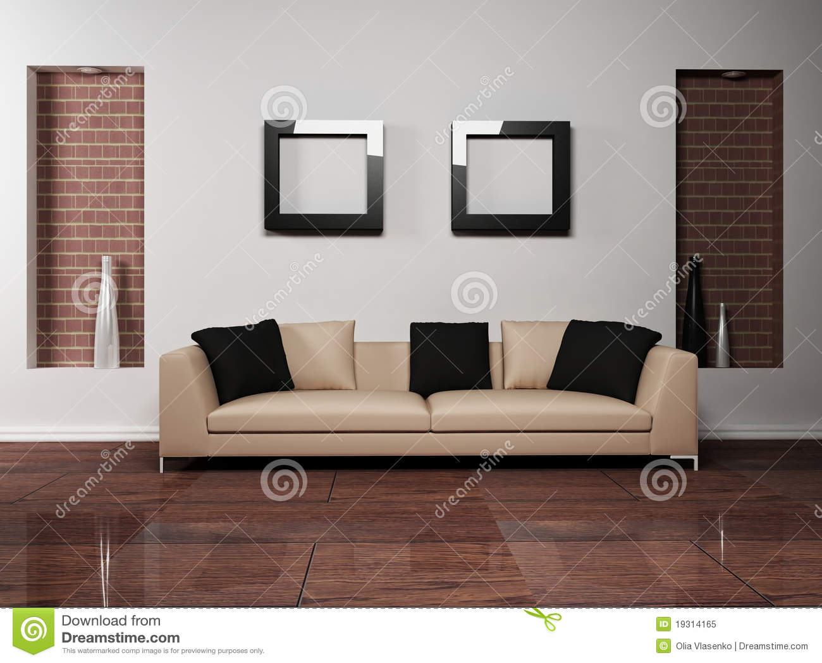 Witte stoffenbank in een minimale woonkamer royalty vrije stock ...