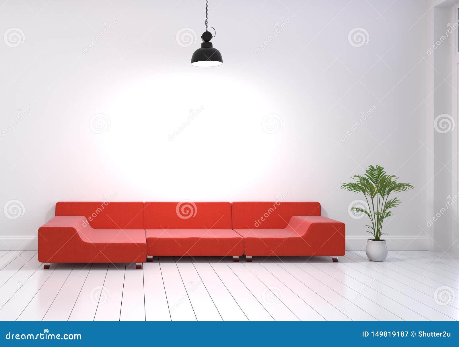 Modern binnenlands ontwerp van woonkamer met rode bank en installatiepot op witte glanzende houten vloer Zet hangende lamp op muu