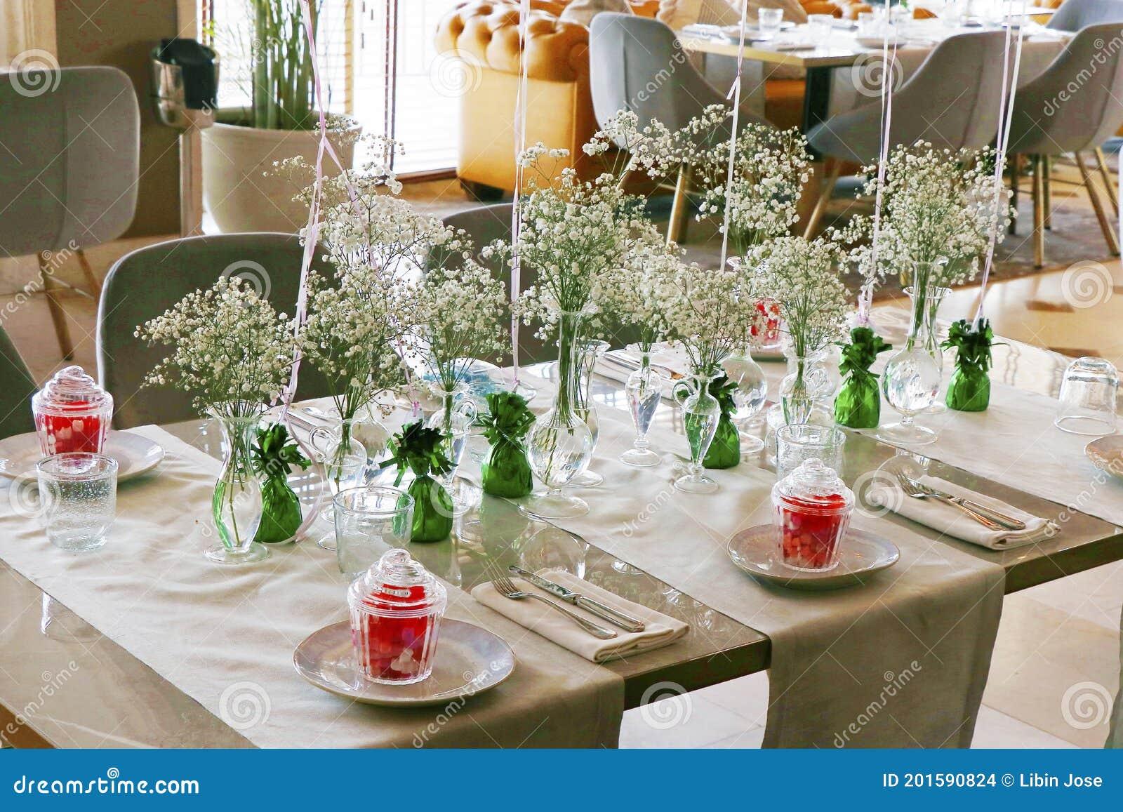 Modern Birthday Decoration With Luxury Dining Table Set Up Stock Photo Image Of Decor Blue 201590824