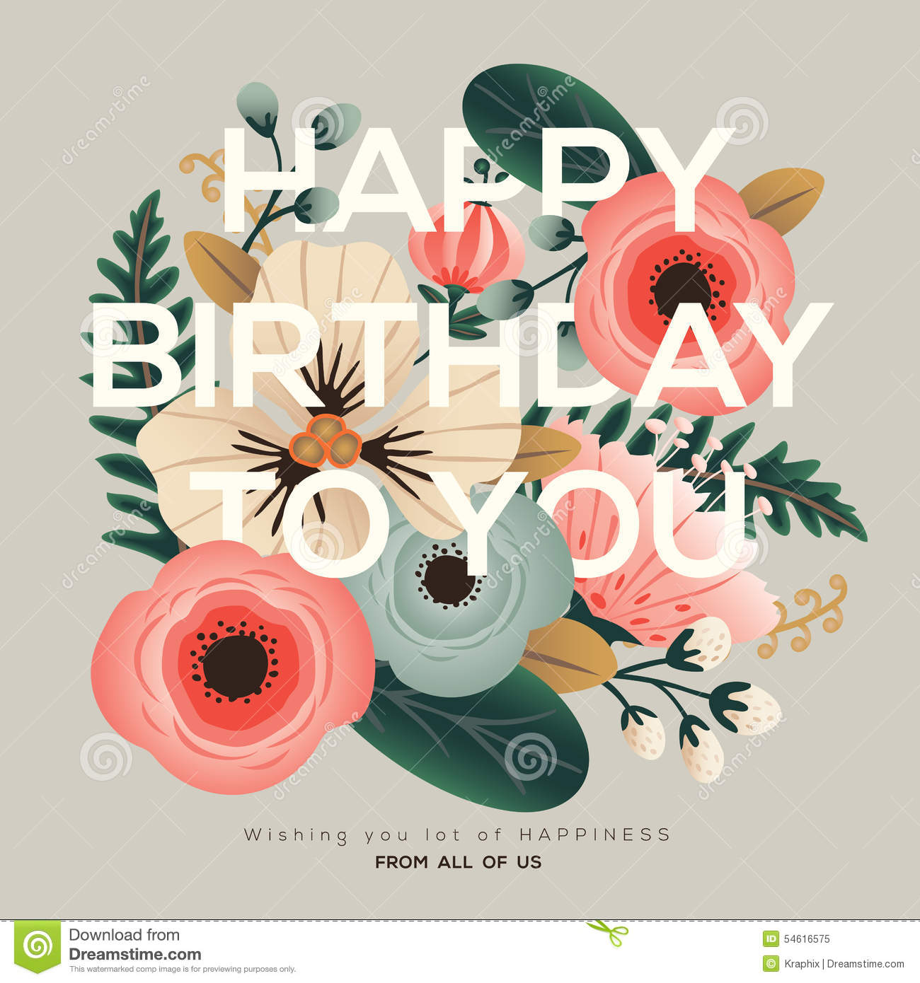 Modern Birthday Floral Card Stock Vector Image 54616575 Modern Happy Birthday Wishes