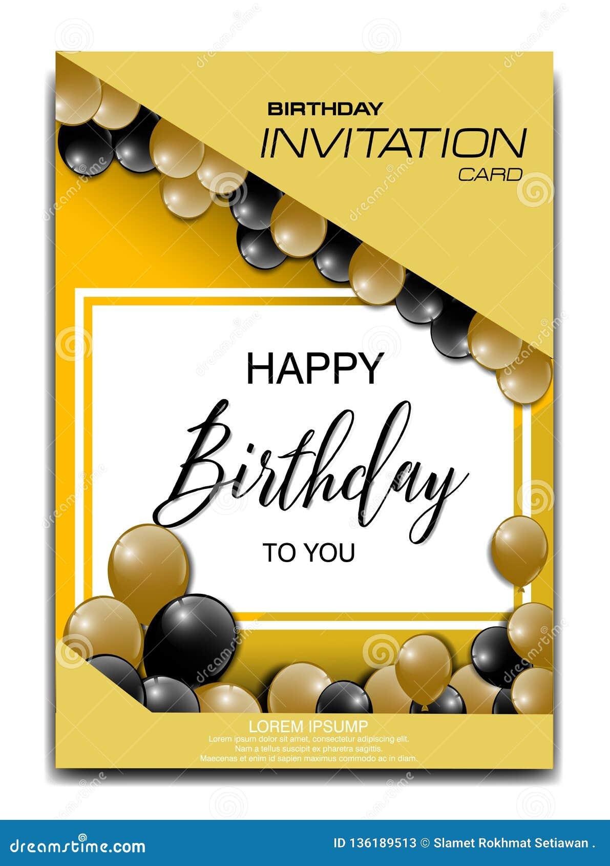 Marvelous Modern Birthday Invitation Card With Balloon Ornament Stock Vector Funny Birthday Cards Online Fluifree Goldxyz