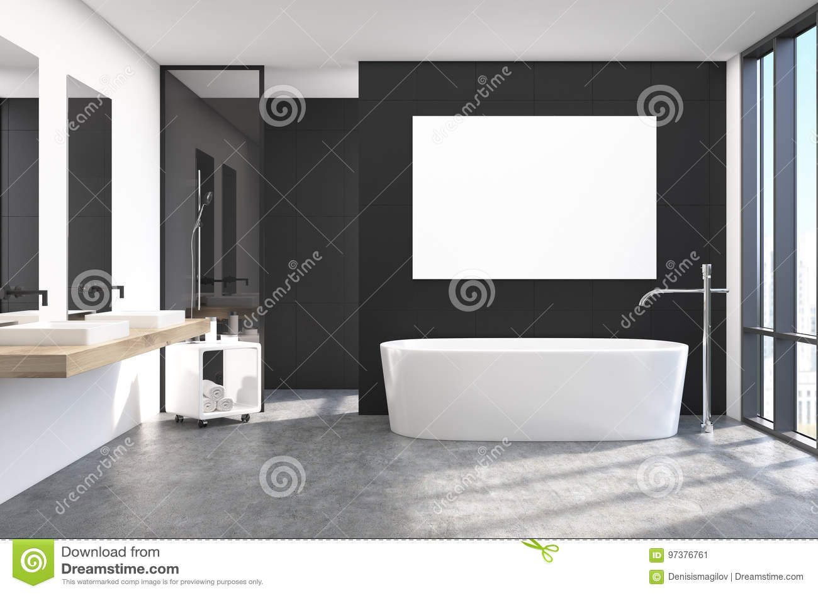 Modern Black Bathroom Interior Poster Stock Illustration
