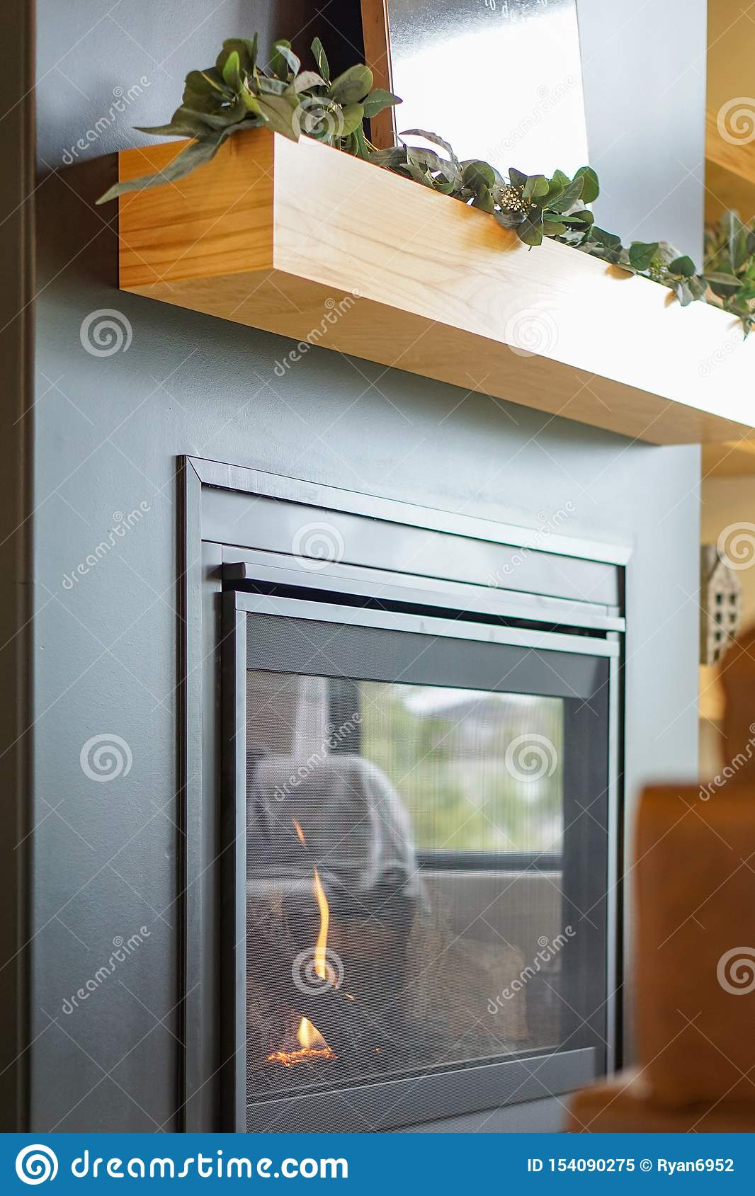 Modern Black Fireplace And Wooden Mantle Stock Image Image Of Wooden Decoration 154090275