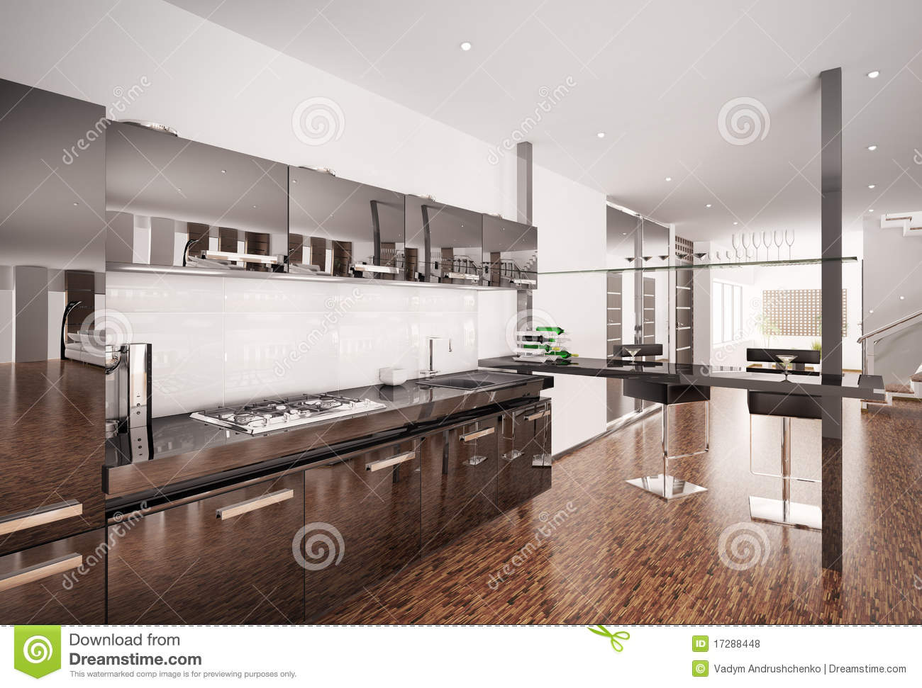 Kitchen Modern Black modern black kitchen interior 3d render stock images - image: 17220684