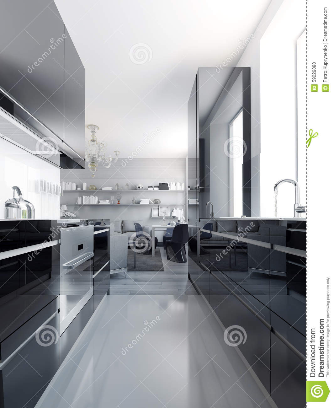 Modern Black Kitchen Interior Stock Illustration