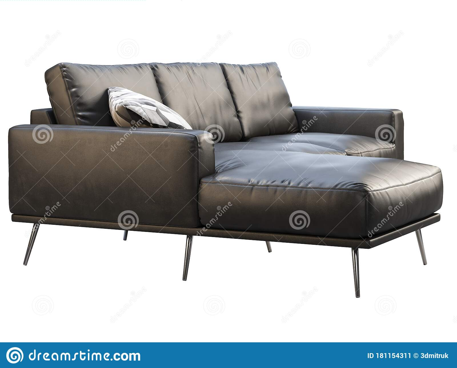 Modern Black Leather Chaise Lounge Sofa With Pillow 3d Render Stock Illustration Illustration Of Metal Wrinkles 181154311