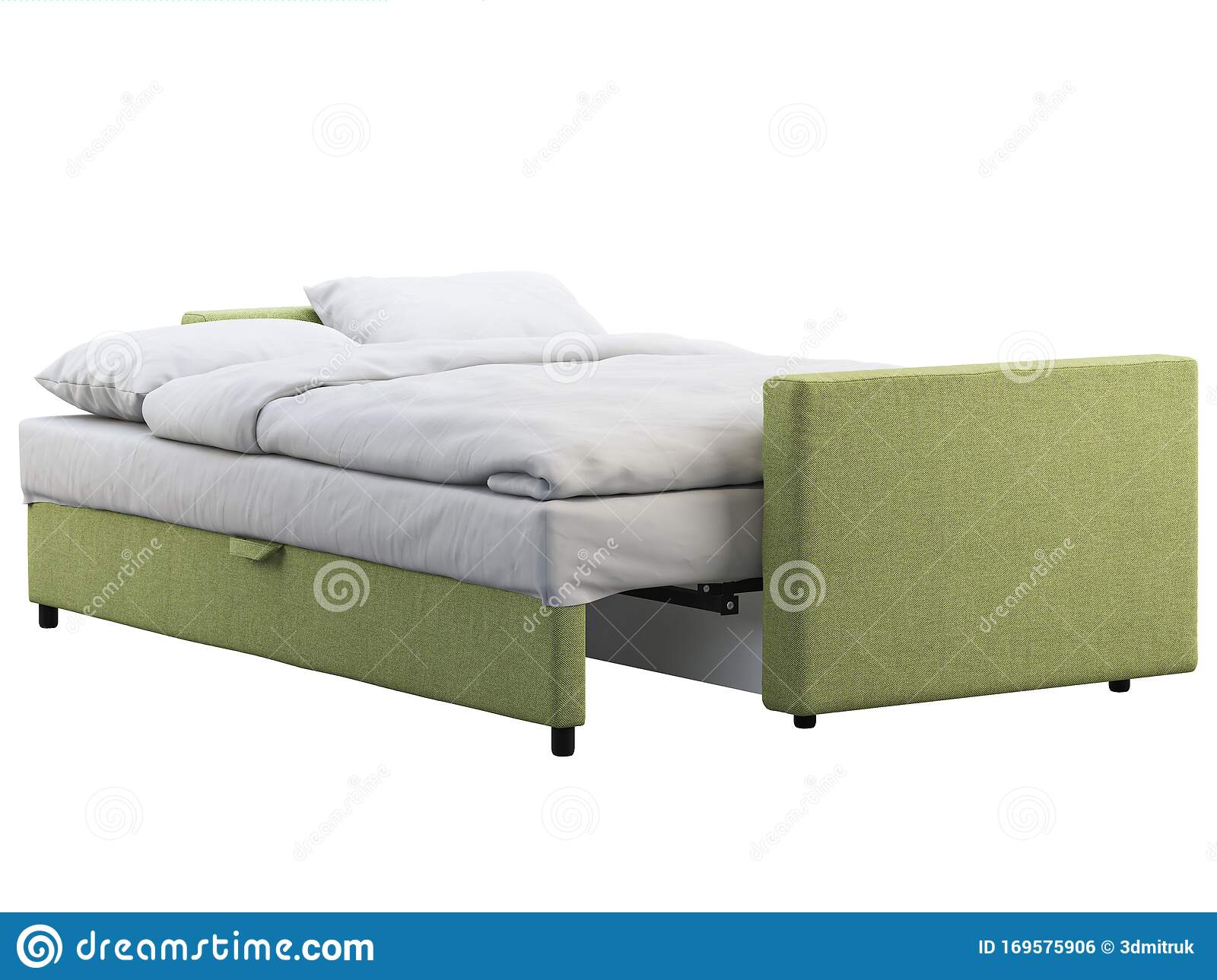 Modern Black Leather Sofa Bed With Bed Linen And Plaid 3d Render Stock Illustration Illustration Of Furniture Plaid 169575906