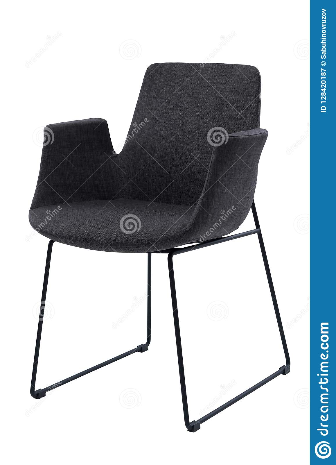 Modern Black Office Chair With Armrests Isolated On White