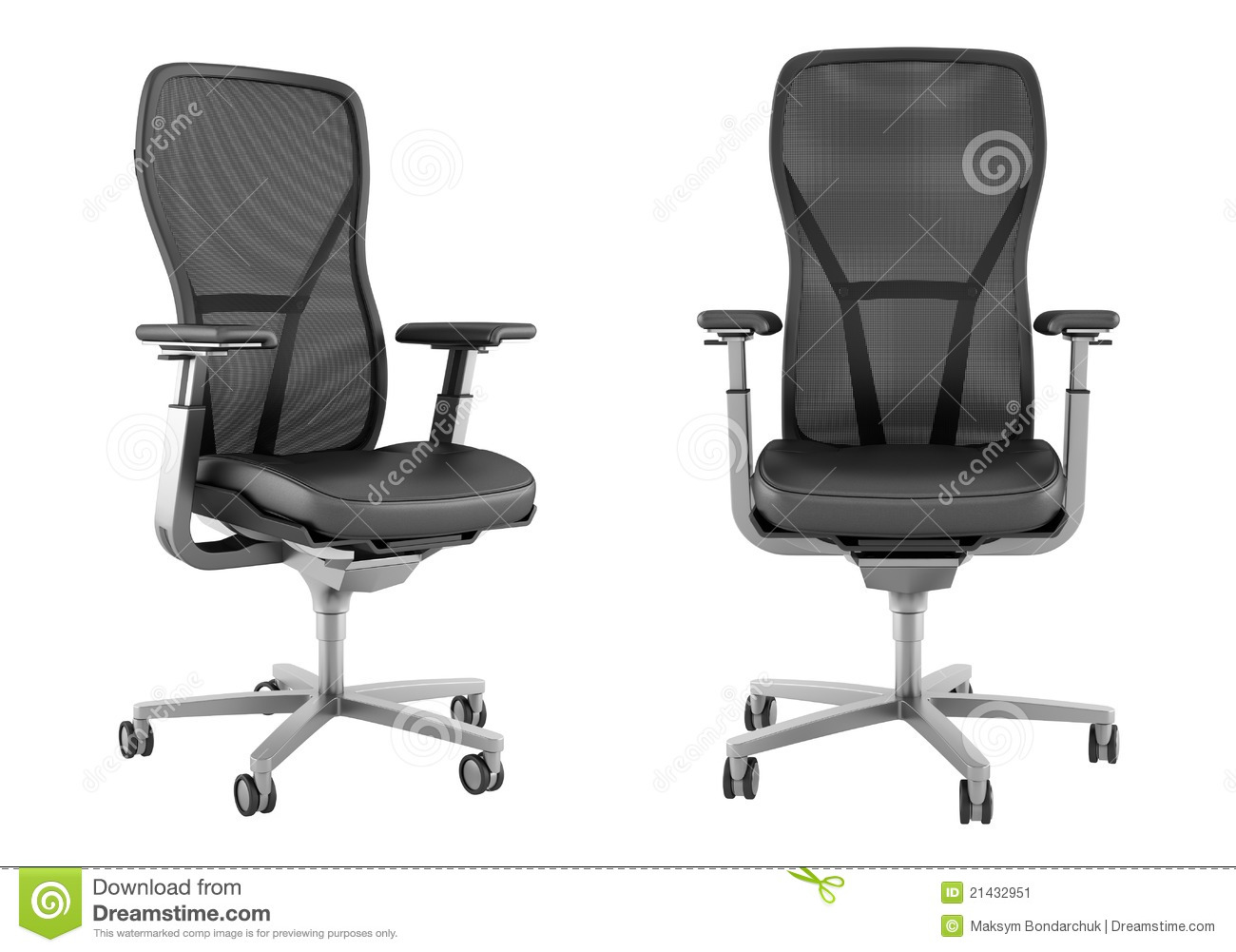 Modern black office chair isolated on white stock image image