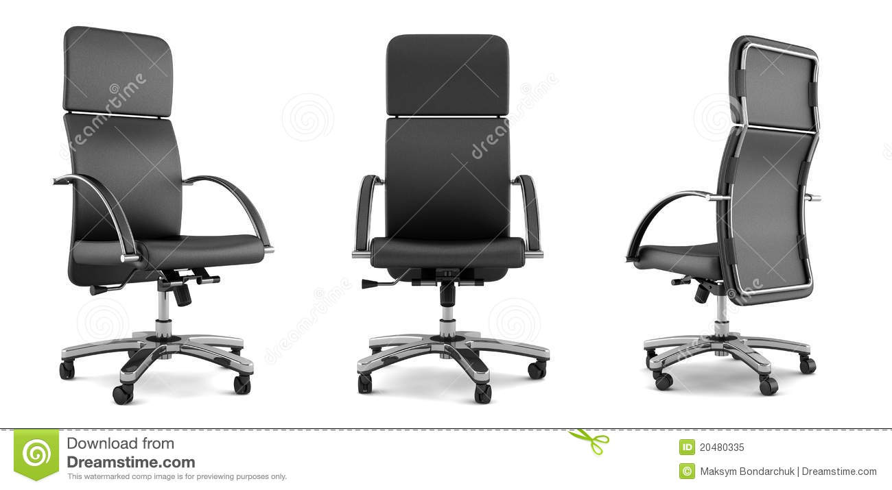 Modern black office chair on white royalty free stock photo image