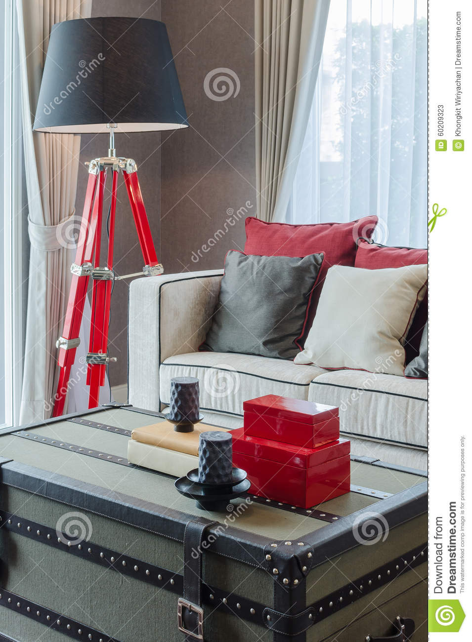 Modern black and red lamp with luxury sofa in luxury living room