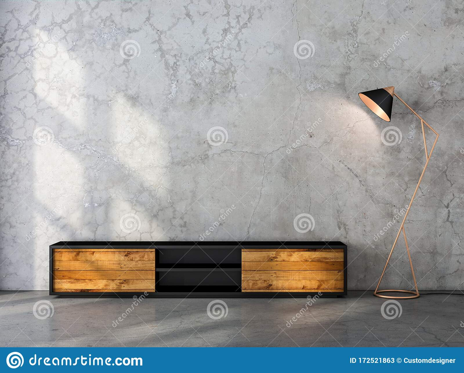 Modern Black Tv Console Mockup With Wooden Facade In Empty Room Stock Illustration Illustration Of Interior Console 172521863