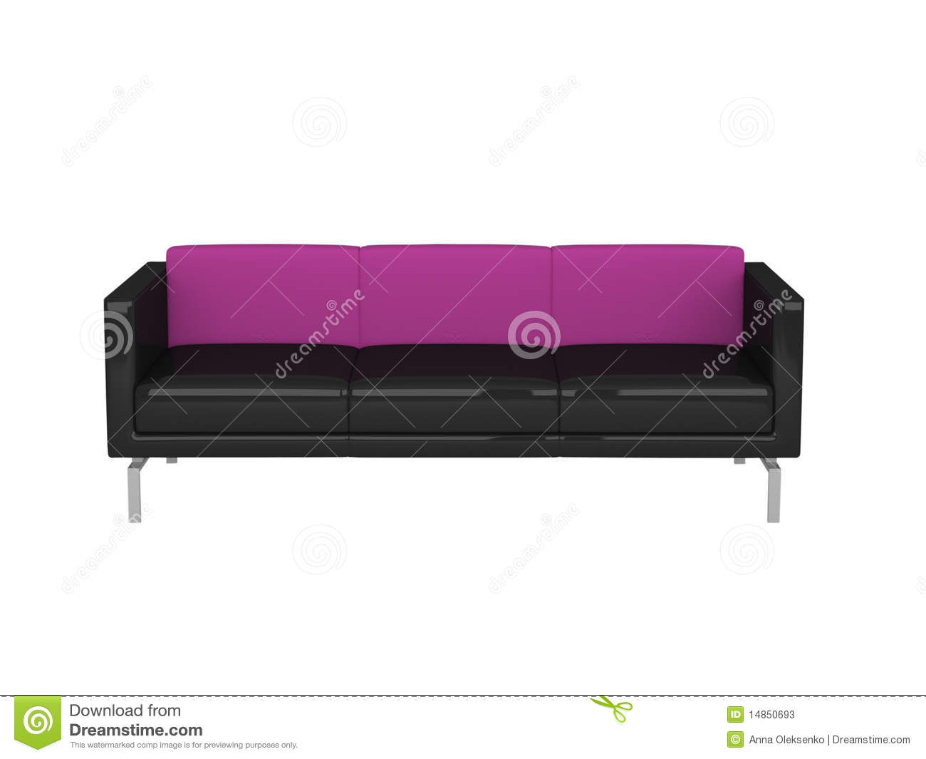 Modern black and violet sofa, isolated