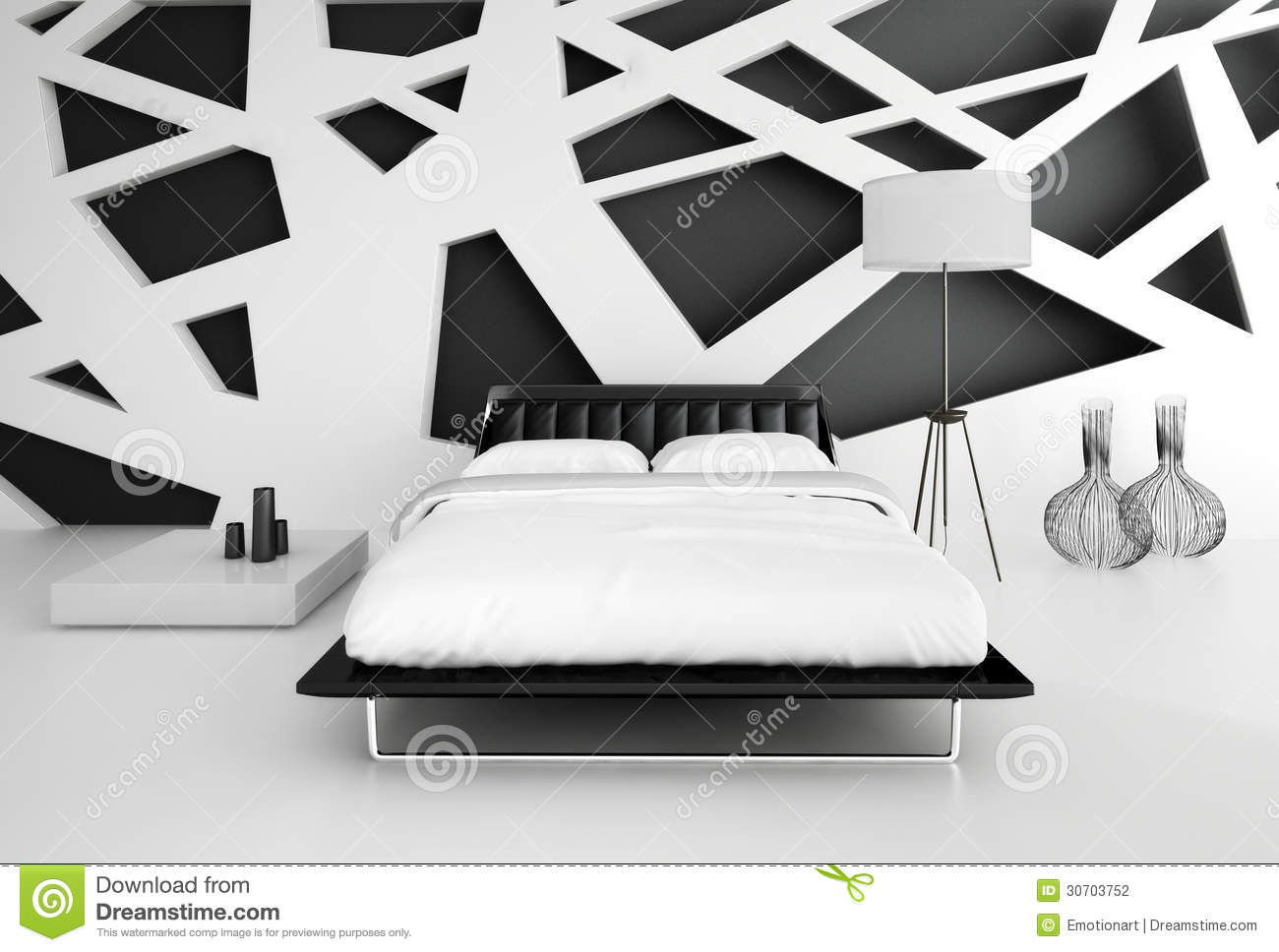 Modern Black And White Bedroom modern black and white bedroom interior stock photography - image