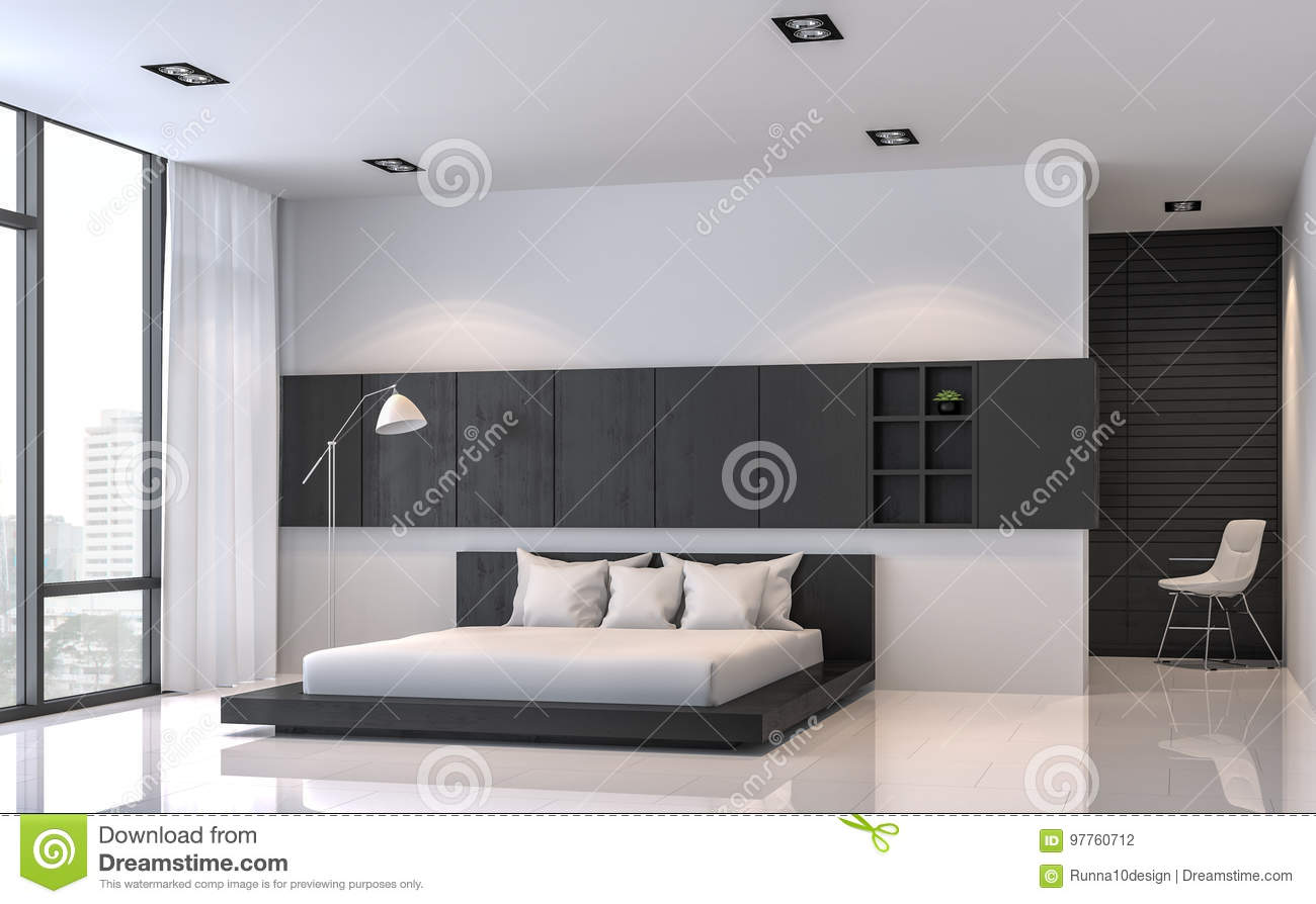 Modern Black And White Bedroom Interior Minimal Style 3d Rendering Image Stock Illustration Illustration Of City Dress 97760712