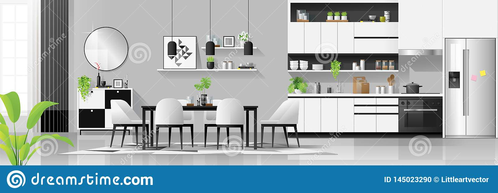 Modern Black And White House Interior Background With Kitchen And Dining Room Combination Stock Vector Illustration Of Cozy Homey 145023290,Pop Simple Design For Hall Without Ceiling