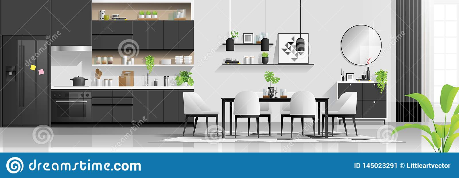 Modern Black And White House Interior Background With Kitchen And Dining Room Combination Stock Vector Illustration Of Display Cupboard 145023291