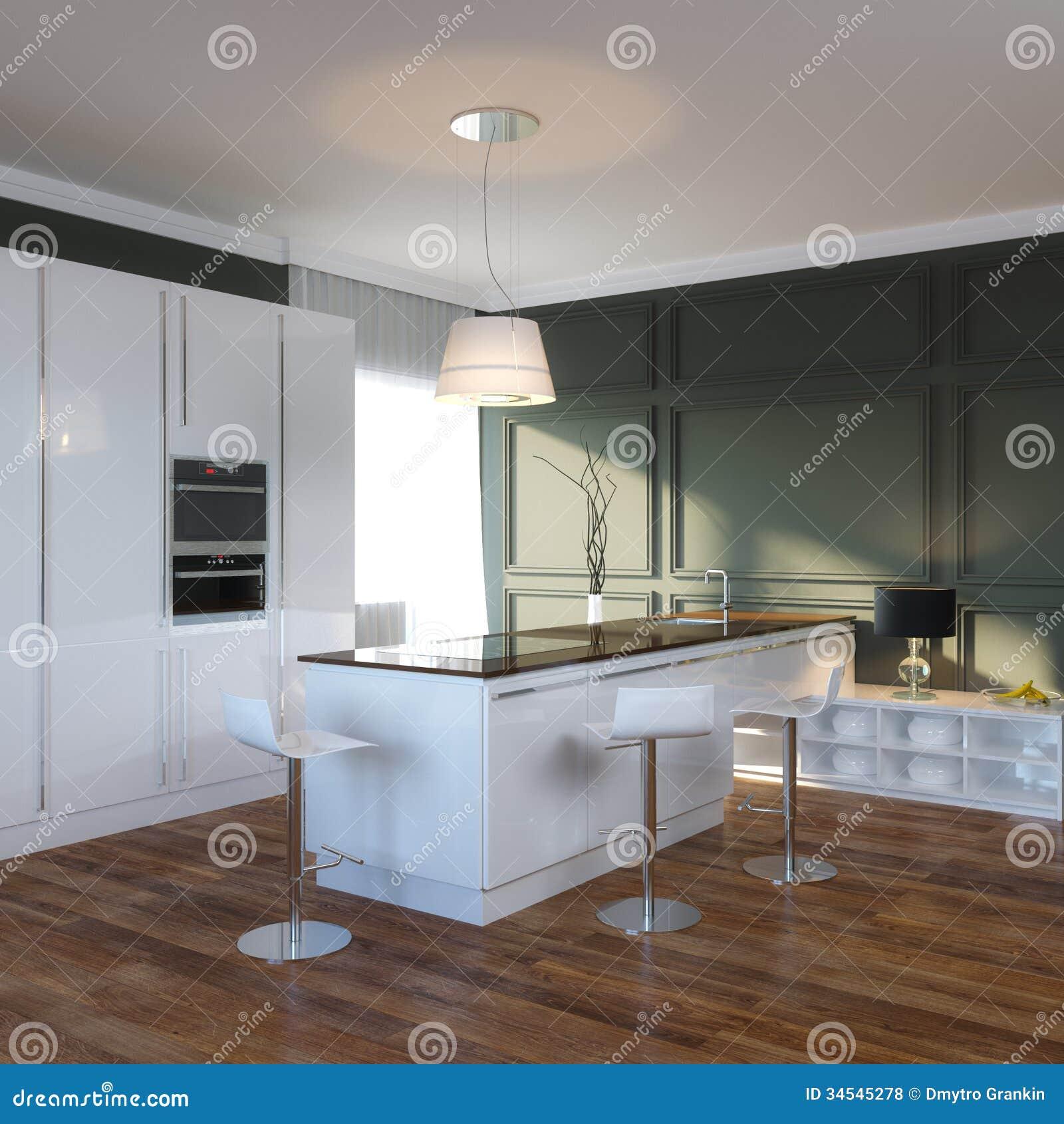 Modern Black And White Kitchen Interior Stock Illustration