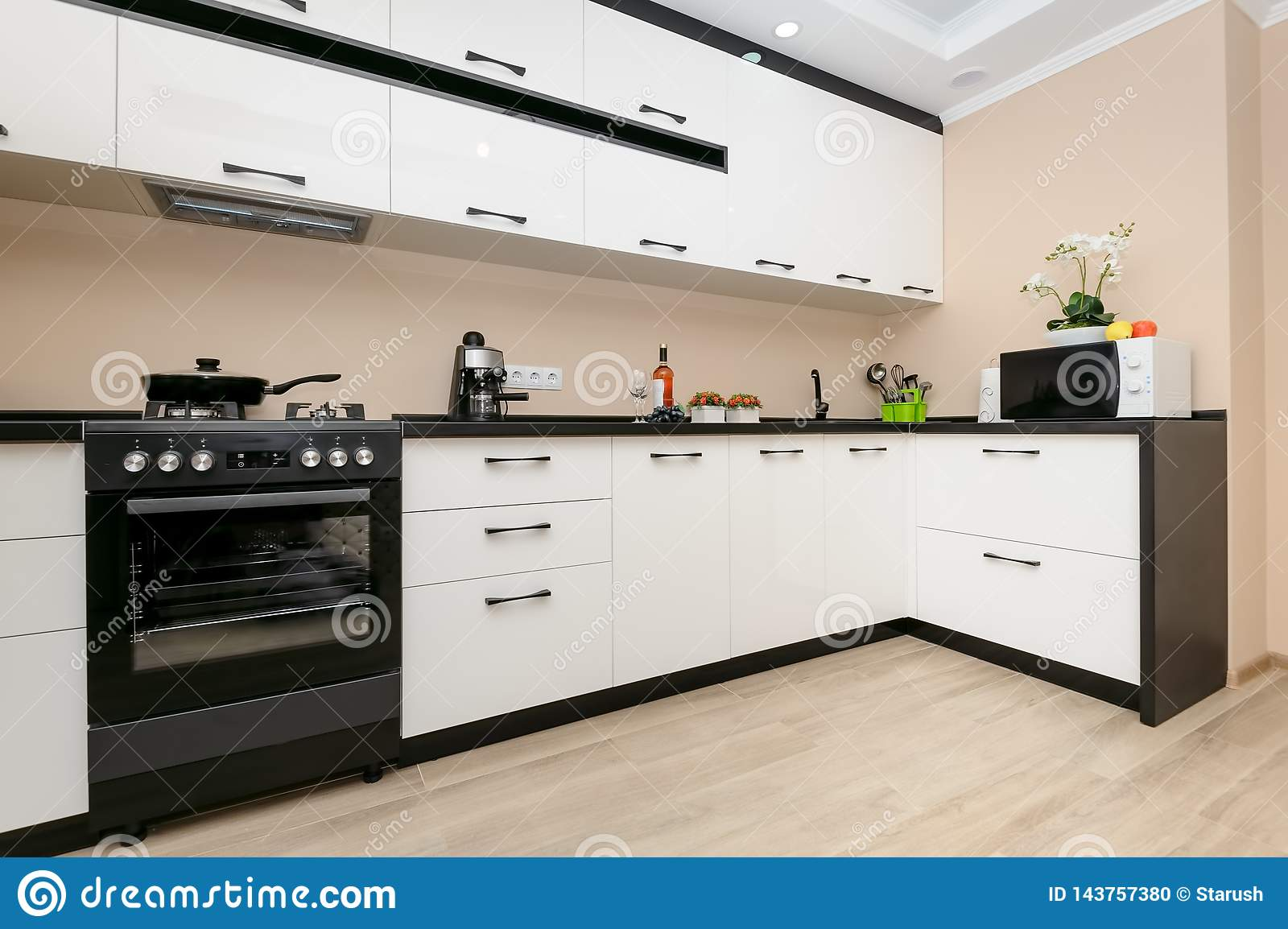 Modern Black And White Kitchen Stock Photo Image Of Cabinet Kitchenware 143757380