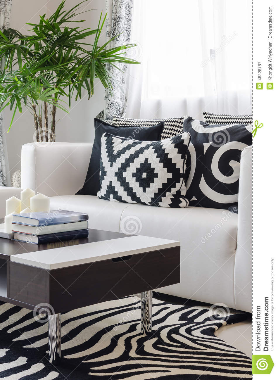 Modern black and white living room at home stock photo for Salon noir et blanc