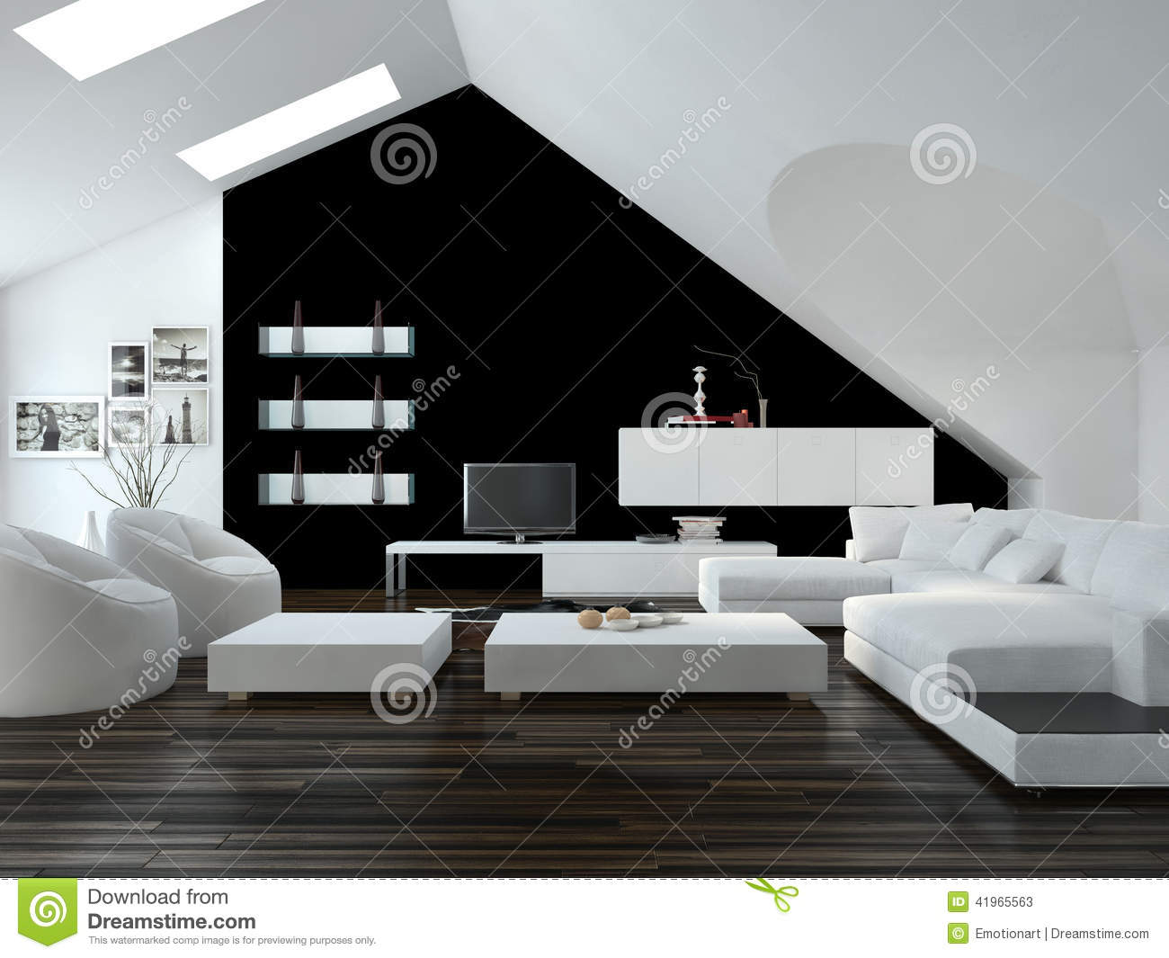 modern black and white loft living room interior stock