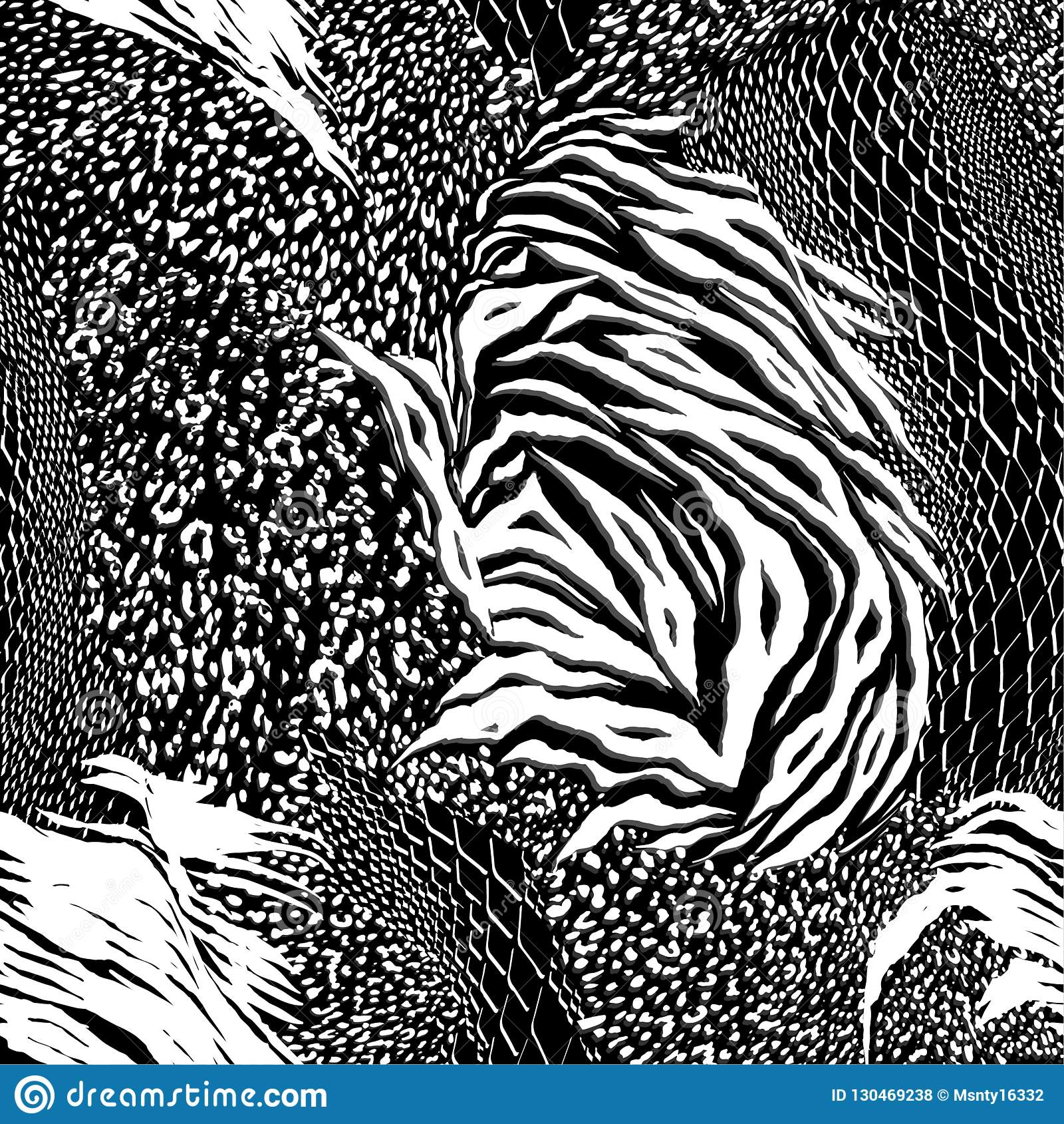 1cd8647b0482 Modern black and white Mixed animal skin,tiger,zebra,leopard,snake,  background. Seamless pattern design for fashion fabric ,wallpaper and all  prints on ...
