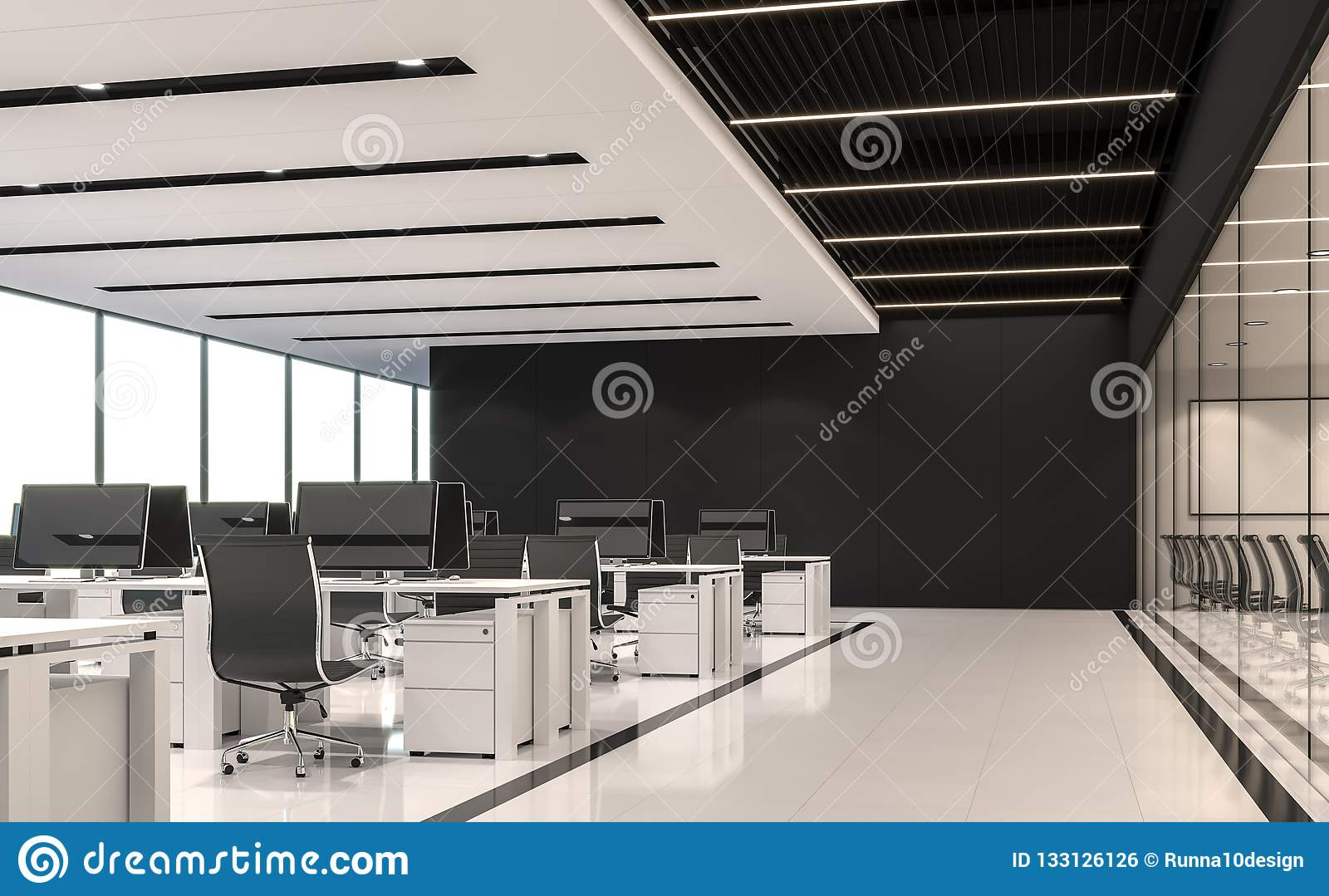 Image of: Modern Black And White Office 3d Render Stock Illustration Illustration Of Bright Ceiling 133126126