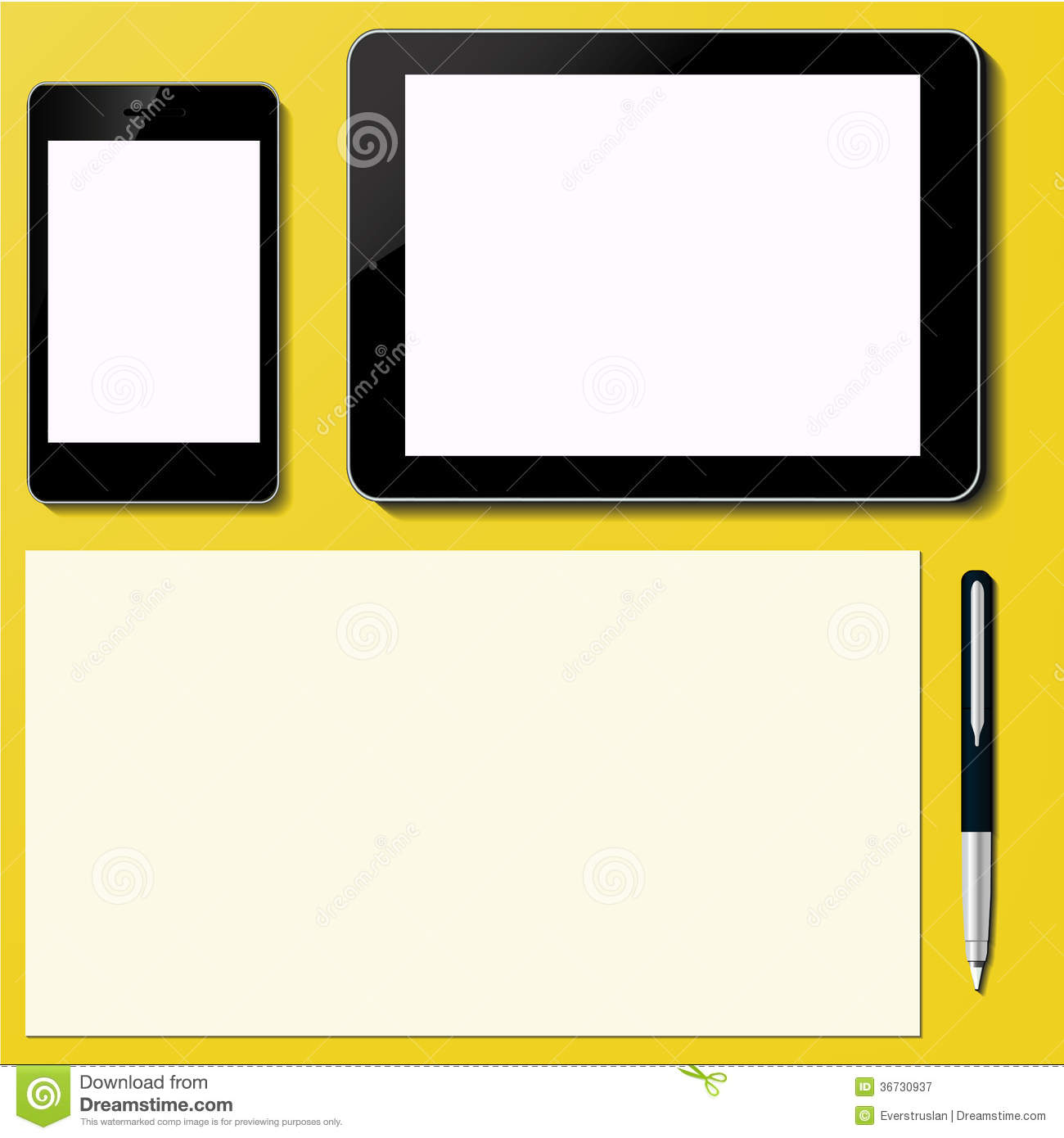 Modern blank Tablet PC and Smart phone Screen with