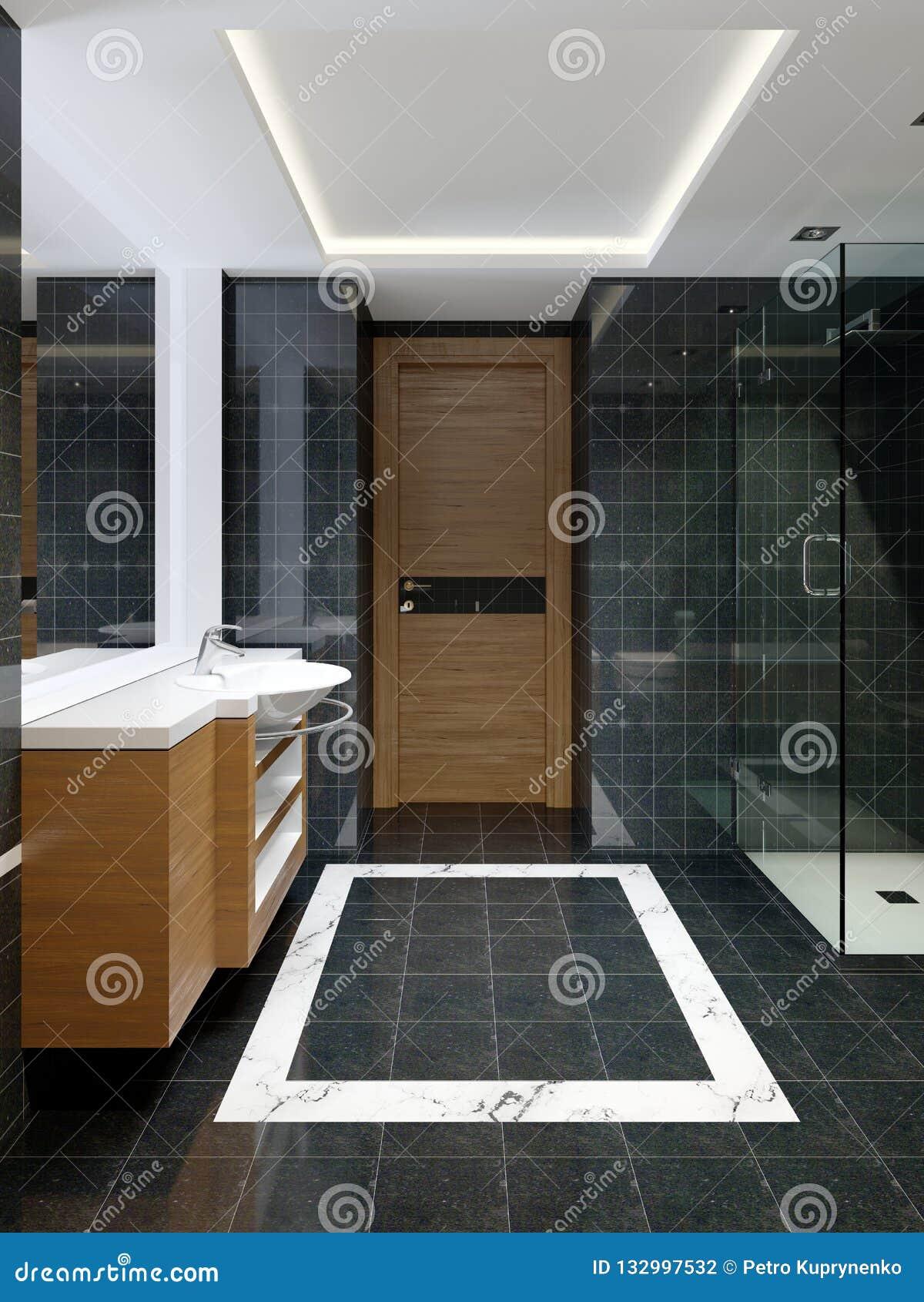Modern Bleack And White Designer Bathroom With Black Marble Shower Tiling Stock Illustration Illustration Of Rendering Bollard 132997532