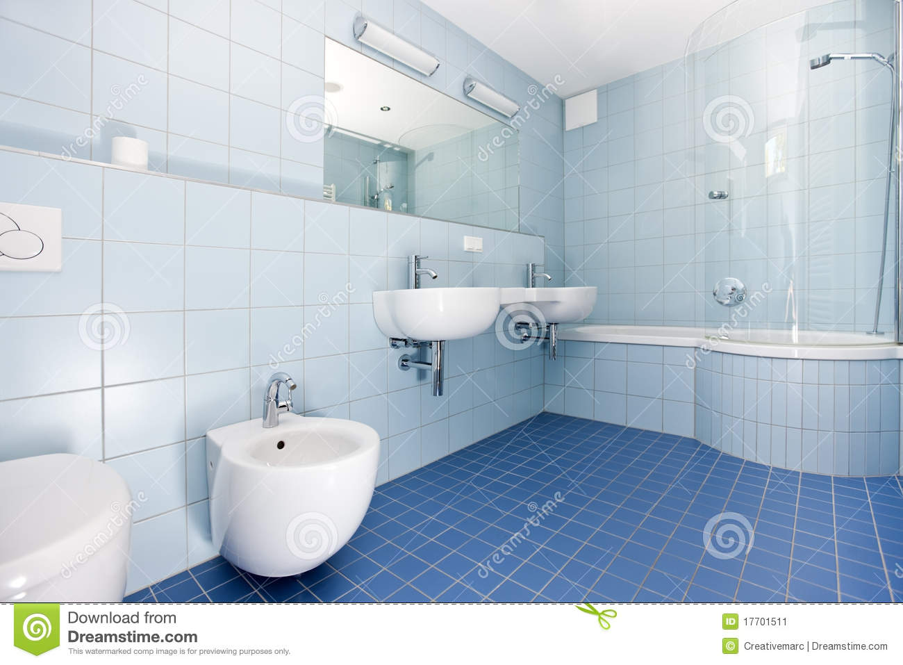 Modern Bathroom With Blue And Orange Tiles Royalty Free Stock ...